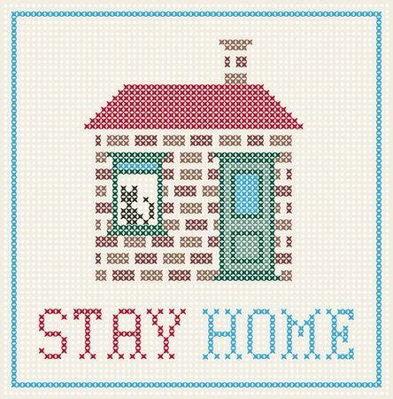 cross sticht stay home message