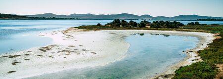 Brackish lagoon in southwest Sardinia. Porto Pino, Sant'Anna Arresi, Carbonia Iglesias, Sardinia, Italy.
