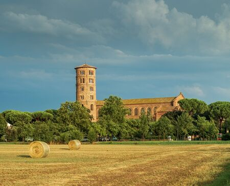 Saint Apollinare in Classe, Basilica with the round bell tower, Ravenna, Italy.