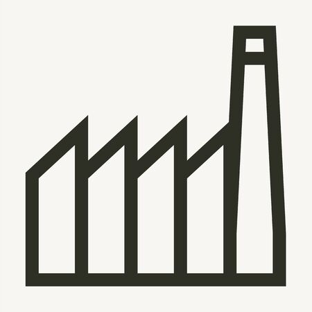 Minimal industrial buildings outline vector icon