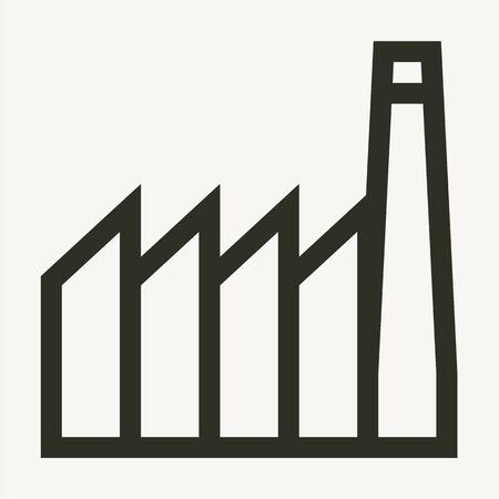 Minimal industrial buildings outline vector icon