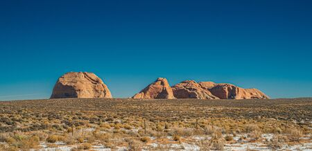 Rock formation in the desertic land near Page. Arizona, USA.