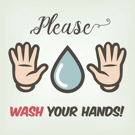 gentle suggestion of washing hands in cartoon style