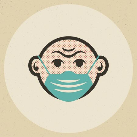 Face mask icon in similar offset print cartoon style. Butcher paper background.