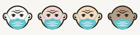 Face mask icon in cartoon style with different skin colors.