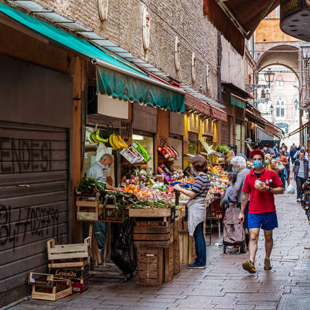 05-18-2020 Bologna, Emilia Romagna, Italy. Daily shopping at the time of coronavirus in downtown city.