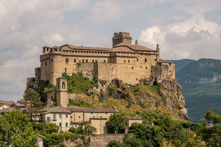 The castle of Bardi in a cloudy day. Parma province, Emilia and Romagna, Italy.