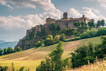 View on the north side of the castle of Bardi. Parma province, Emilia and Romagna, Italy.