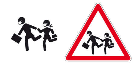 Back to school with face mask at time of covid 19. Vector illustration in road sign style.