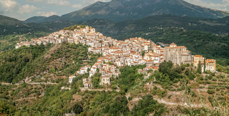 Rivello: characteristic typical village perched on a mountain in Potenza province, Basilicata, Italy.