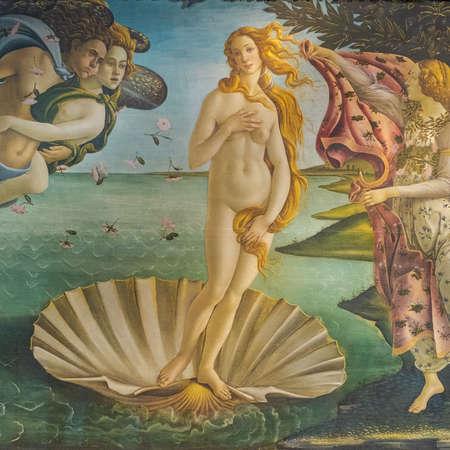 Alessandro Filipepi alias Sandro Botticelli (1445-1510), The birth of Venus, around 1484-1486, Detail, Tempera on canvas. Uffizi galleries, Florence, Italy.