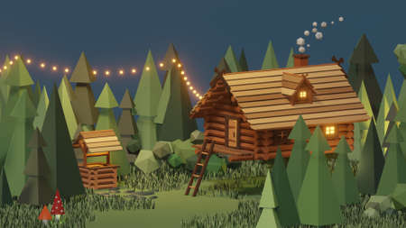 Wooden house from magical fairy tale in forest. 3D illustration of surreal Baba Yaga hut on chicken legs in wood. Supernatural rustic cottage model. Slavic folklore, Russian mythology. Graphic design.