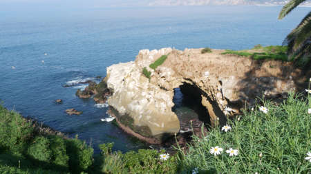From above sea cave in La Jolla Cove. Lush foliage and sandstone grotto. Rock in pacific ocean lagoon, waves near steep cliff. Popular tourist landmark, natural arch in San Diego, California, USA.