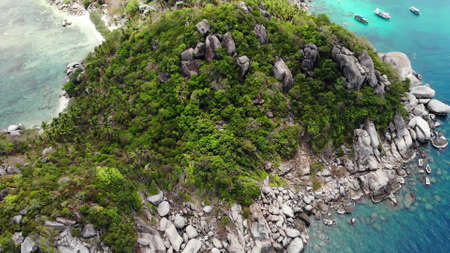 Bungalows and green coconut palms on tropical beach. Cottages on sandy shore of diving and snorkeling resort on Koh Tao paradise island near calm blue sea on sunny day in Thailand. Drone view
