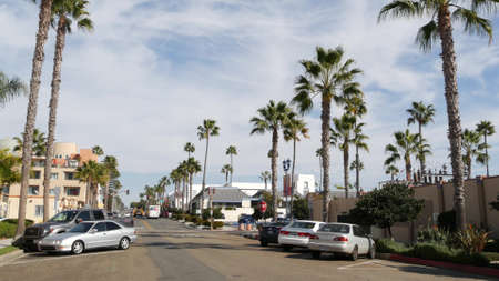 Oceanside, California USA - 27 Jan 2020: Palm trees on typical american street, pacific coast tropical resort. Auto transport on road, generic view of city. Sunny summer day in small town on route 101