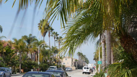 Oceanside, California USA - 27 Jan 2020: Typical suburban street. Different houses in row. Generic american homes, buildings facade, townhouse exterior architecture. Residential district real estate. Standard-Bild - 159003944