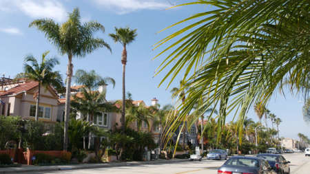 Oceanside, California USA - 27 Jan 2020: Typical suburban street. Different houses in row. Generic american homes, buildings facade, townhouse exterior architecture. Residential district real estate. Standard-Bild - 159003945