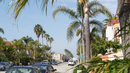 Oceanside, California USA - 27 Jan 2020: Typical suburban street. Different houses in row. Generic american homes, buildings facade, townhouse exterior architecture. Residential district real estate. Standard-Bild - 159003830
