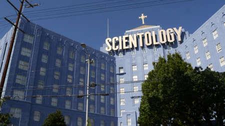 Los Angeles, California USA - 24 Feb 2020: Church of Scientology exterior, facade of blue building near American Saint Hill Organization in Hollywood. Logo and cross. International religious movement. Standard-Bild - 159003844