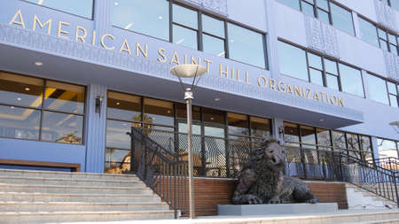 Los Angeles, California USA - 24 Feb 2020: American Saint Hill Organization near Sunset blvd in Hollywood. Church of Scientology exterior, blue building facade. Religious movement in United States. Standard-Bild - 159003837