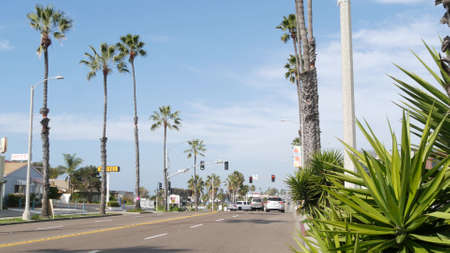 Oceanside, California USA - 27 Jan 2020: Palm trees on Route 101 american highway, pacific coast tropical street. Traffic light and auto transport on road intersection, cars on crossroad in suburb. Standard-Bild - 161603743