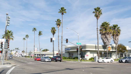 Oceanside, California USA - 27 Jan 2020: Palm trees on Route 101 american highway, pacific coast tropical street. Traffic light and auto transport on road intersection, cars on crossroad in suburb. Standard-Bild - 161603740