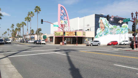 Oceanside, California USA - 20 Feb 2020: Authentic Star theatre on pacific coast highway 1, historic route 101. Palm trees on street, road along ocean. Retro vintage signboard. City near Los Angeles. Editorial