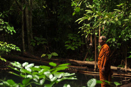KRABI, THAILAND - 12th MAY, 2014: Ethnic monk man in wild tropical woods, Side view of ethnic Asian man in orange robe standing alone in peaceful green tropical jungle forest Editorial