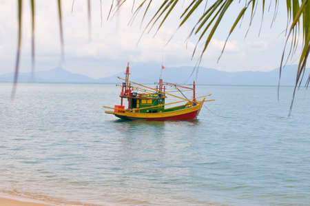 Sailing colorful boat in tropical water, View of small multicolored sailing boat in shallow water of tropical ocean shoreline with palm leaves above, Thailand