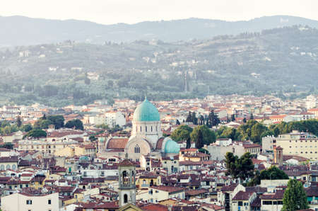 synagogue: Florence - Outlook from Michelangelo square to Synagogue Stock Photo