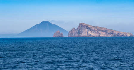 vulcanology: Stromboli volcano at eolie island, Sicily, Italy, Europe Stock Photo