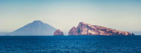 aeolian: Volcano Stromboli to the Aeolian Island Sicily Italy Stock Photo