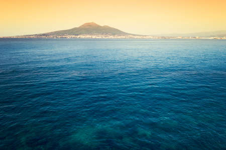 Castellammare di Stabia with the Gulf of Naples. Composition with multiple photographs of the Gulf of Naples and Mount Vesuvius with snow on top photo