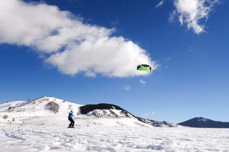 snowkiting: Snowkiting, on a beautiful sunny day