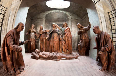 sacrifices: The Dead Christ is a sculptural group from the beginning of 1500 and from the chapel of the Ascension Cathedral of Santa Maria Assunta (Asti, Italy). Editorial