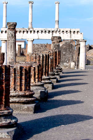 social history: Pompeii is a ruined and partially buried Roman town-city near modern Naples in the Italian region of Campania, in the territory of the comune of Pompei.