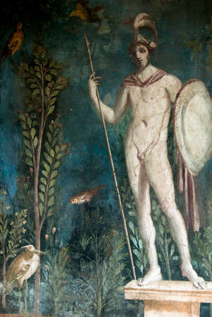 italian fresco: Fresco mars god of war in Pompeii Pompeii is a ruined and partially buried Roman town-city near modern Naples in the Italian region of Campania, in the territory of the comune of Pompei.