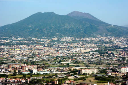 Urban scene in Naples, Italy , Vesuvius.