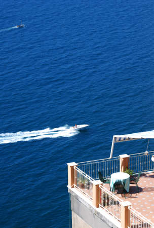 sorrento: balcony on the sea in Vico Equense, Sorrento Coast, Italy Stock Photo