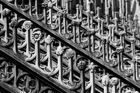 spire: Series of architectural details of the Milan Cathedral Spire.