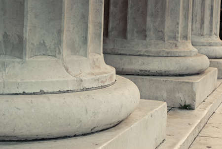 building feature: The base of white marble columns. Stock Photo