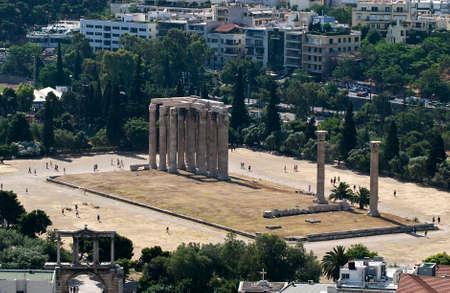 olympian: The Temple of Olympian Zeus (Olimpieion) Athens. Stock Photo