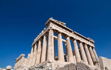 diosa griega: El Parten�n es un templo de la diosa griega Atenea quien el pueblo de Atenas consideraba su protector. Fue construido en el siglo 5 aC en la Acr�polis ateniense. Foto de archivo