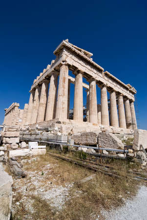 classical greece: The Parthenon is a temple of the Greek goddess Athena whom the people of Athens considered their protector. It was built in the 5th century BC on the Athenian Acropolis. It is the most important surviving building of Classical Greece, generally considered Stock Photo