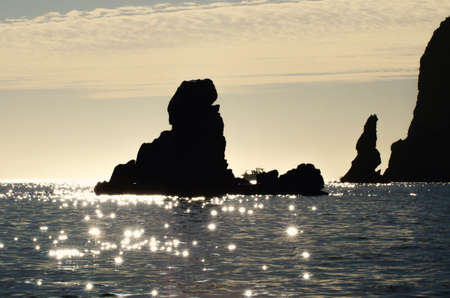 lucas: Rocks at sunset in Cabo San Lucas in Mexico Stock Photo