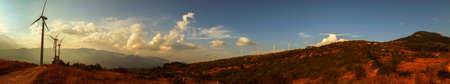 scenary: Wind Turbine in sunset Stock Photo