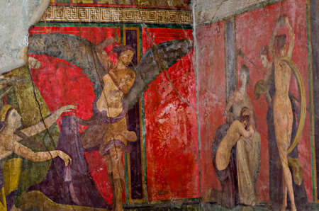 italian fresco: Dionysiac frieze Villa of the Mysteries before 79 C.E. The fresco is thought to represent a ritual of the Eastern mystery cult of Dionysus the Greek god of wine.Pompeii is a ruined and partially buried Roman towncity near modern Naples in the Italian regi Editorial