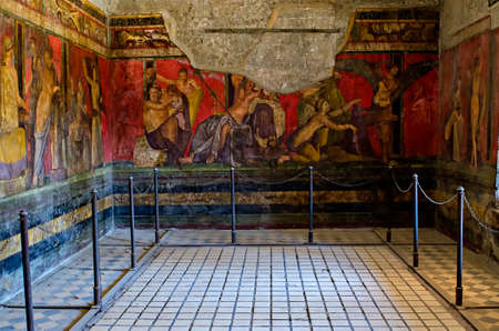Dionysiac frieze Villa of the Mysteries before 79 C.E. The fresco is thought to represent a ritual of the Eastern mystery cult of Dionysus the Greek god of wine.Pompeii is a ruined and partially buried Roman towncity near modern Naples in the Italian regi Editorial