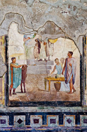 italian fresco: Especially of fresco house Pompeii.Pompeii is a ruined and partially buried Roman towncity near modern Naples in the Italian region of Campania in the territory of the comune of Pompei. Along with Herculaneum its sister city Pompeii was destroyed and comp Editorial
