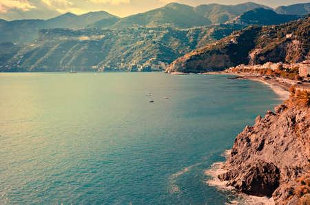 holidays vacancy: Top view of Maiori beach in the Amalfi Coast Stock Photo